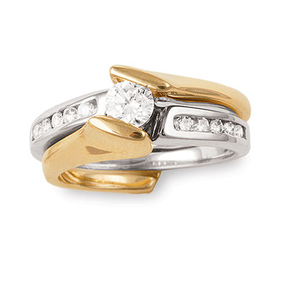 14kt Two Tone Bridal Set; 1/3ct Round Brilliant Center with 1/5cttw of Side Diamonds.  Diamond To...