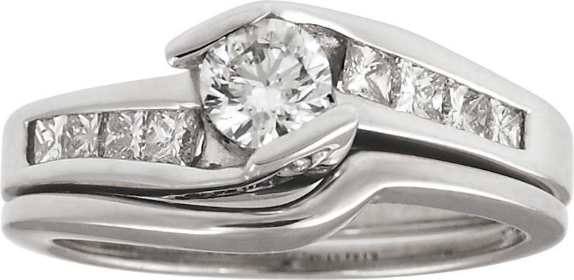 14kt Diamond Bridal Set; 1.00cttw Diamond Total Weight.  3/8ct Round Brillian...