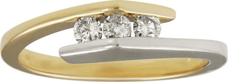 10kt Two Tone Three Stone Diamond Ring; Three Diamonds 0.20cttw