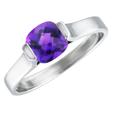 Sterling Silver Ring with simulated 6x6 cushion checkerboard cut  amethyst &#...