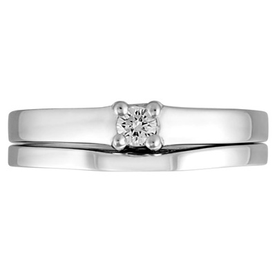JCX308437: 'Forever Yours Collection'' 14kt Diamond Bridal Set; Engagement Ring with .10ct Round Brilliant Diamond and Matching Shadow Band.