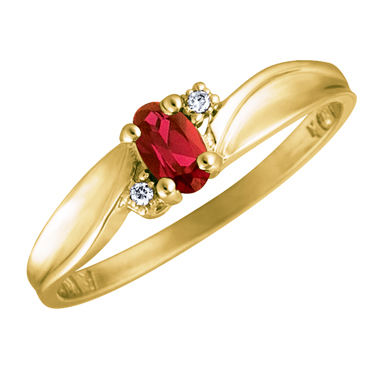 Genuine Mozambique Garnet 5x3 oval (January birthstone) set in 10kt yellow gold ring with 2 accen...