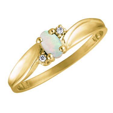 JCX302517: Genuine Opal 5x3 oval (October birthsone) set in 10kt yellow gold ring with 2 accent diamonds .01cttw