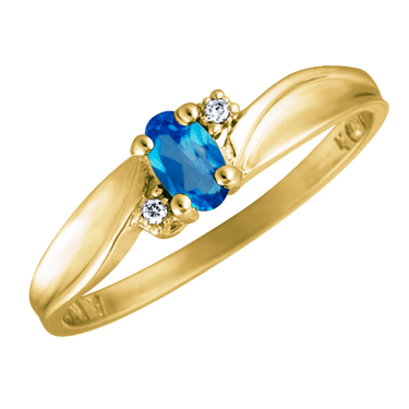 Genuine Blue Topaz 5x3 oval (December birthstone) set in 10kt yellow gold ring with 2 accent diam...