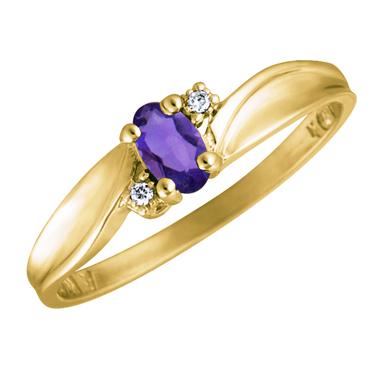 Genuine Amethyst 5x3 oval (February birthstone) set in 10kt yellow gold ring ...