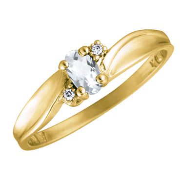 JCX302525: Genuine White Topaz 5x3 oval (April birthstone) set in 10kt yellow gold ring with 2 accent diamonds .01cttw