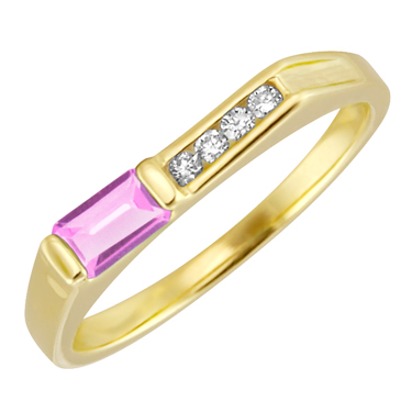 Lab Created Pink Sapphire ''October Birthstone'' and .06cttw Diamond 10kt yellow ...