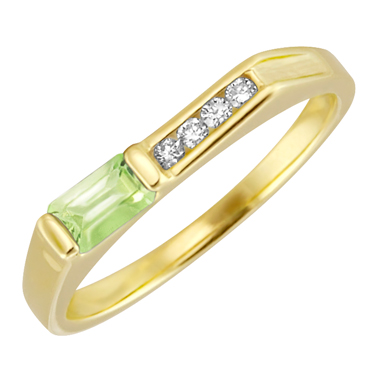 Genuine Peridot ''August Birthstone'' and .06cttw Diamond 10kt yellow gold ring