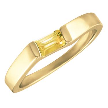 Genuine Citrine ''November Birthstone'' 5x3 Rectangle Cut Baguette Ring 10KT yellow gold