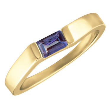 Lab Created Alexandrite ''June Birthstone'' 5x3 Rectangle Cut Baguette Ring 10KT yellow gold