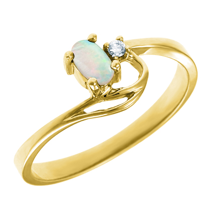 Genuine Opal 5x3 oval (October birthstone) set in 10kt yellow gold ring  with...