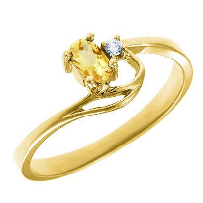 Genuine Citrine 5x3 oval (November birthstone) set in 10kt yellow gold ring w...