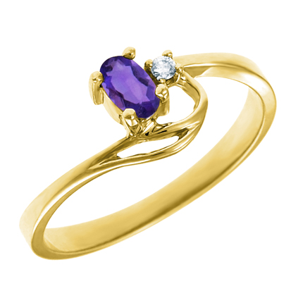 JCX302295: Genuine Amethyst 5x3 oval (February birthstone) set in 10kt yellow gold ring  with .02ct round diamond accent.