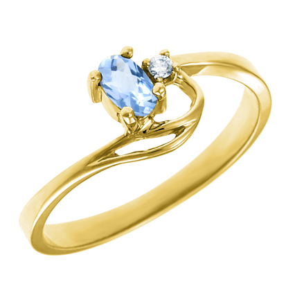 Genuine Aquamarine 5x3 oval (March birthstone) set in 10kt yellow gold ring with .02ct round diam...