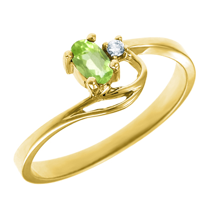 Genuine Peridot 5x3 oval (August birthstone) set in 10kt yellow gold ring  with .02ct round diamond accent.