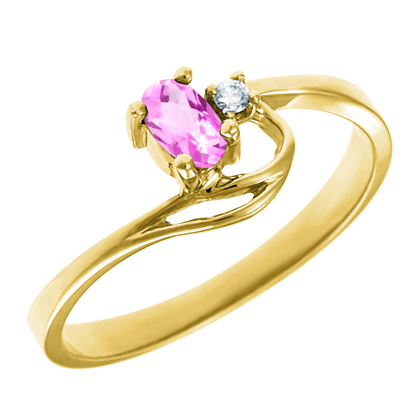 Created Pink Sapphire 5x3 oval (October birthstone) set in 10kt yellow gold r...