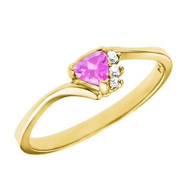 Lab Created 4mm Trillion cut pink sapphire ''October Birthstone'' with 3 diam...