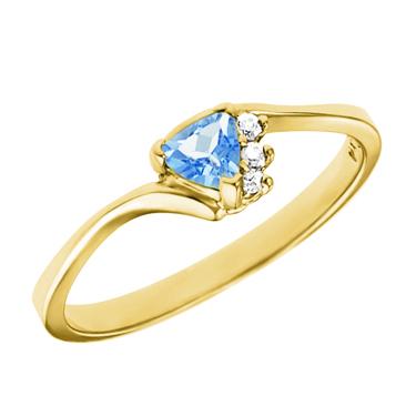 Genuine 4mm Trillion cut aquamarine ''March Birthstone'' with 3 diamonds set in a...