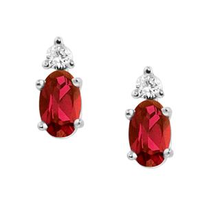 Genuine Garnet ''January Birthstone'' and .04cttw Diamond Ear...