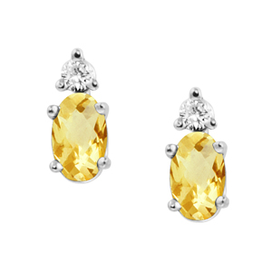 Genuine Citrine ''November  Birthstone'' and .04cttw Diamond Earrings set in 14kt...