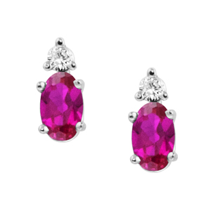 Lab Created Ruby ''July Birthstone'' and .04cttw Diamond Earrings set in 14kt whi...