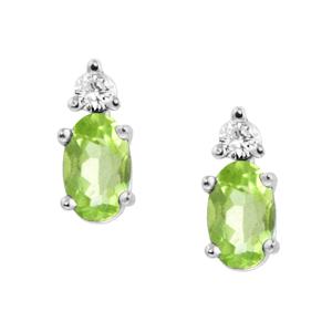 Genuine Peridot ''August Birthstone'' and .04cttw Diamond Ear...