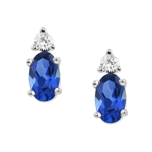 JCX302261: Lab Created Blue Sapphire ''September Birthstone'' and .04cttw Diamond Earrings set in 14kt white gold