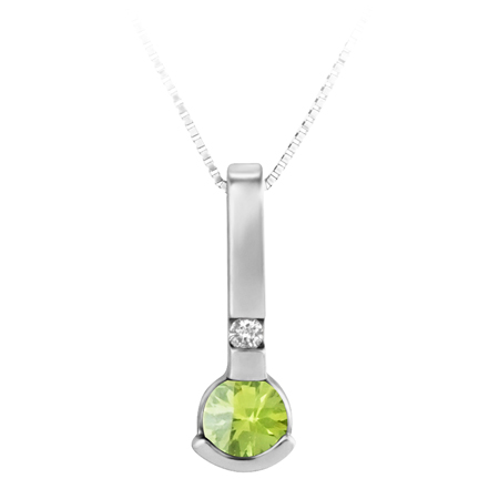 JCX302250: Genuine 4mm round Peridot ''August Birthstone'' and .02ct Diamond Pendant set in 10KT White Gold; Furnished with 18'' 10KT Box Chain