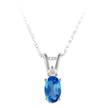 Genuine Blue Topaz ''December Birthstone'' and Diamond Pendant set in 14kt white ...