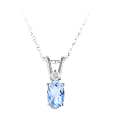 JCX302231: Genuine Aquamarine ''March Birthstone'' and Diamond Pendant set in 14kt white gold furnished with 18 inch 14kt rope chain
