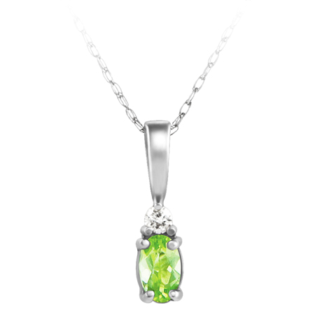 JCX302214: Genuine Peridot ''August Birthstone'' and .03ct Diamond Pendant set in 14kt white gold furnished with 18 inch 14kt rope chain