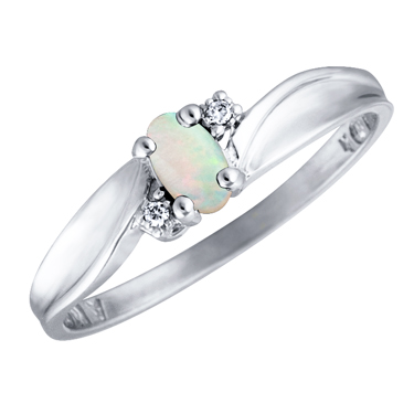 Genuine Opal 5x3 oval (October birthsone) set in 10kt white gold ring with 2 ...