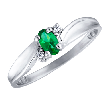 Created Emerald 5x3 oval (May birthstone) set in 10kt white gold ring with 2 accent diamonds .01c...