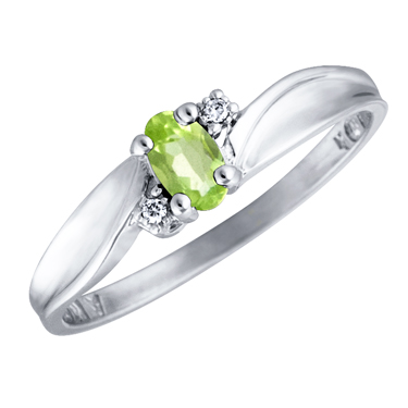 Genuine Peridot 5x3 oval (August birthstone) set in 10kt white gold ring with...