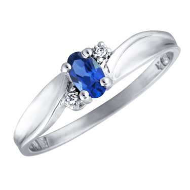 Created Blue Sapphire 5x3 oval (September birthstone) set in 10kt white gold ring with 2 accent d...