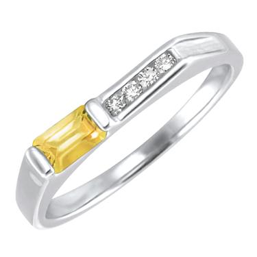 Genuine Citrine ''November Birthstone'' and .06cttw Diamond 10kt white gold ring