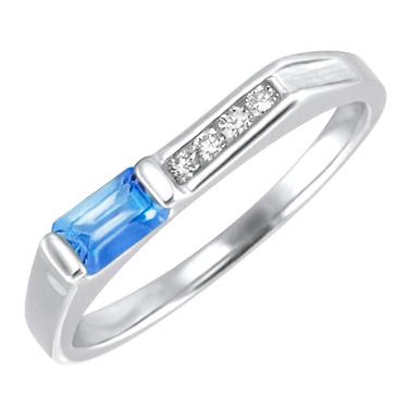 Genuine Swiss Blue Topaz ''December Birthstone'' and .06cttw Diamond 10kt white g...