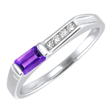 Genuine Amethyst   ''February Birthstone'' and .06cttw Diamond 10kt white gold ring
