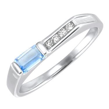Genuine Aquamarine  ''March Birthstone'' and .06cttw Diamond 10kt white gold ring