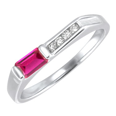 JCX302191: Lab Created Ruby ''July Birthstone'' and .06cttw Diamond 10kt white gold ring