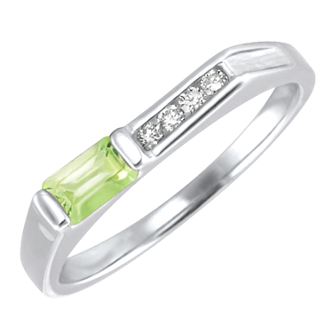 Genuine Peridot ''August Birthstone'' and .06cttw Diamond 10kt white gold ring