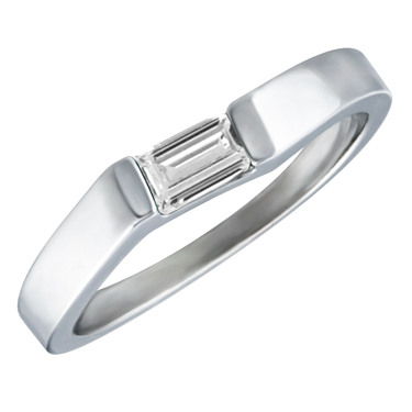 White Cubic Zirconia ''April Birthstone'' 5x3 Rectangle Cut Baguette Ring 10KT white gold
