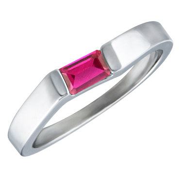 Lab Created Ruby ''July Birthstone'' 5x3 Rectangle Cut Baguette Ring 10KT white gold