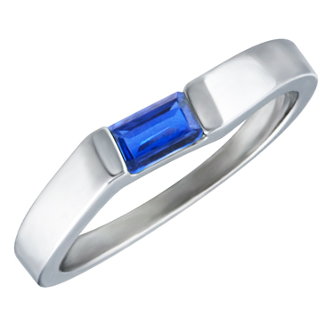 JCX302177: Lab Created Blue Sapphire ''September Birthstone'' 5x3 Rectangle Cut Baguette Ring 10KT white gold