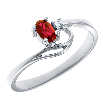 Genuine Garnet 5x3 oval (January birthstone) set in 10kt white gold ring with...