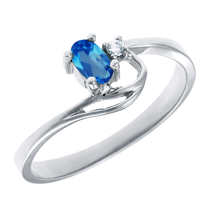 Genuine Blue Topaz 5x3 oval (December birthstone) set in 10kt white gold ring...