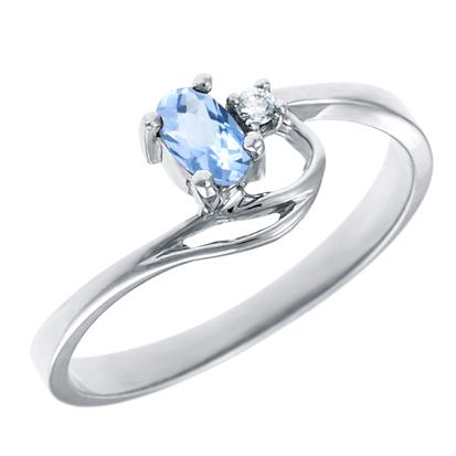 Genuine Aquamarine 5x3 oval (March birthstone) set in 10kt white gold ring wi...