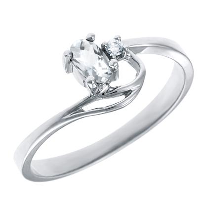 Genuine White Topaz 5x3 oval ( April birthstone) set in 10kt white gold ring ...