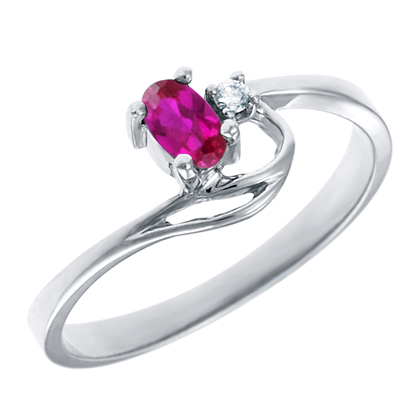 Created Ruby 5x3 oval (July birthstone) set in 10kt white gold ring with .02ct round diamond accent.
