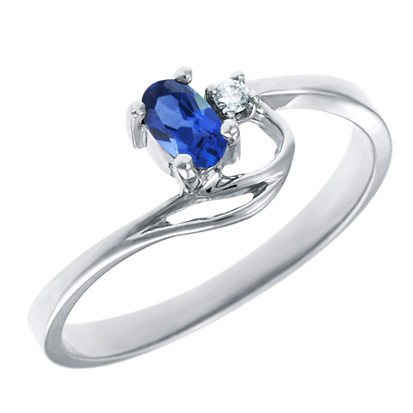 Created Blue Sapphire 5x3 oval (September birthstone) set in 10kt white gold ...